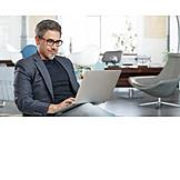 Businessman, Smiling, Office, Laptop