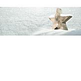 Snow, Wood Star, Winter Decoration