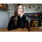 Woman, Laughing, Happy, Sparkling, Restaurant, Vitality, Cafe