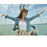 Woman, Vacation, Yacht