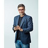 Businessman, Smiling, Smart Phone