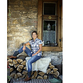 Woman, Vacation, Cottage, Rural Scene, Cowboy Boots
