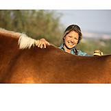 Happy, Horse, Brushing, Grooming