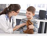 Child, Animal Love, Explaining, Rabbit, Veterinarian, Veterinary Practice