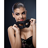 Young Woman, Smiling, Party, Mask, Carnival