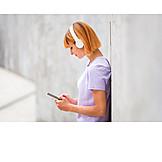 Woman, Writing, Headphones, Redhead, Online, Smart Phone
