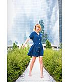 Woman, Summer, City, Dress, Barefoot
