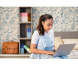 Teenager, Leisure, Home, Typing, Laptop