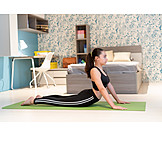 Teenager, Home, Yoga, Stretching, Bhujangasana, Back Bending