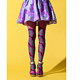 Fashion, Multi Colored, Skirt, High Heels, Pantyhose, Female Leg