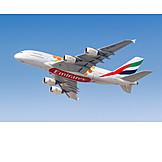 Airplane, Flight, Emirates