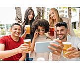 Beer, Beer Garden, Friends, Group Picture, Selfie