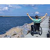Sea, Joy, Vacation, Wheelchair