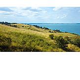 Meadow, Hill, Coastline