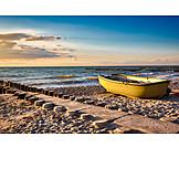 Beach, Sea, Fishing Boat