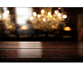 Gastronomy, Lights, Wooden Table