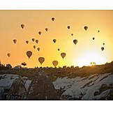 Hot air balloon, Evening sky, Cappadocia